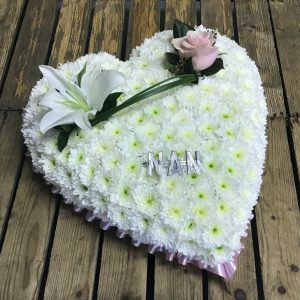 Heart white base Lily and rose spray